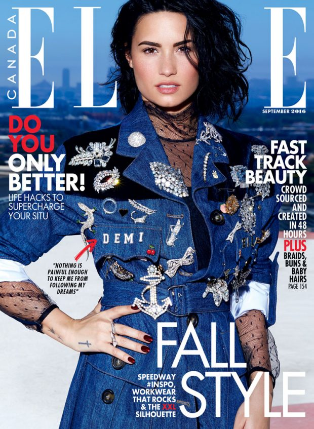 Songstress DEMI LOVATO clad in denim lands the cover of ELLE CANADA lensed by fashion photographer M