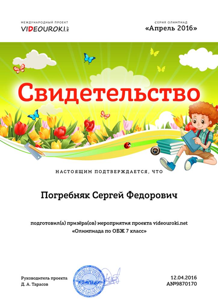 Свидетельство о подготовке победителя международной олимпиады проекта videouroki.net.jpg