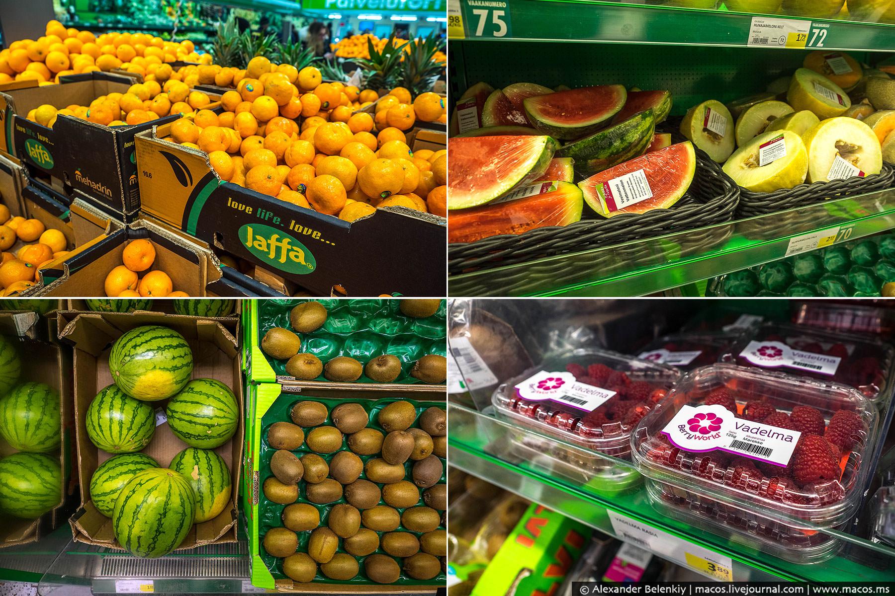 Фрукты в любое время года — пожалуйста! Апельсины и арбузы из Израиля, дыни не помню откуда, малина