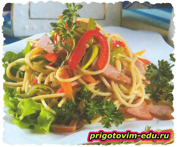 Спагетти с ветчиной и болгарским перцем