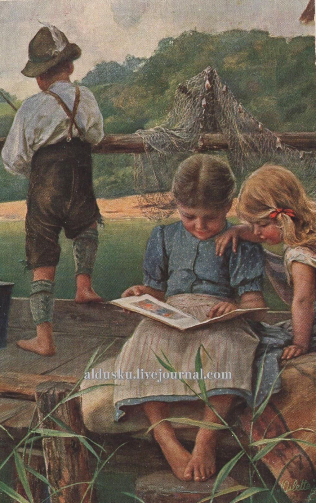 Соседкие дети. «Nachbarskinder». Издательство: Raphael Tuck & Sons Серия «Oilette» серия «Dorfkinder» No. 855. Англия; Германия