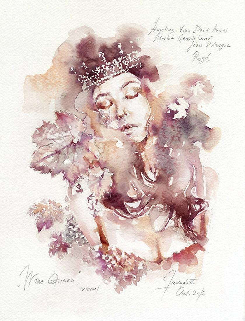 Artista servia cria imagens usando vinho