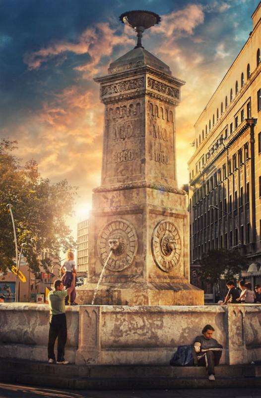 Фонтан «Четыре льва» на площади Теразие.