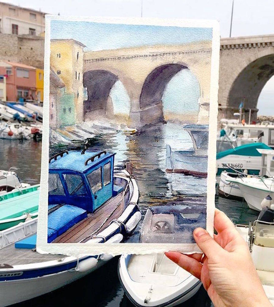 Watercolor Paintings matching with Landscape
