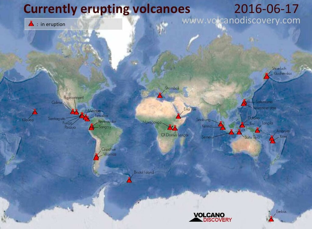 Сайт volcanodiscovery.com: Карты вулканов и землетрясений