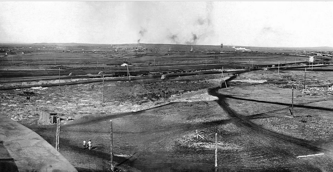 Панорама строительства Магнитогорского металлургического комбината. 1930.