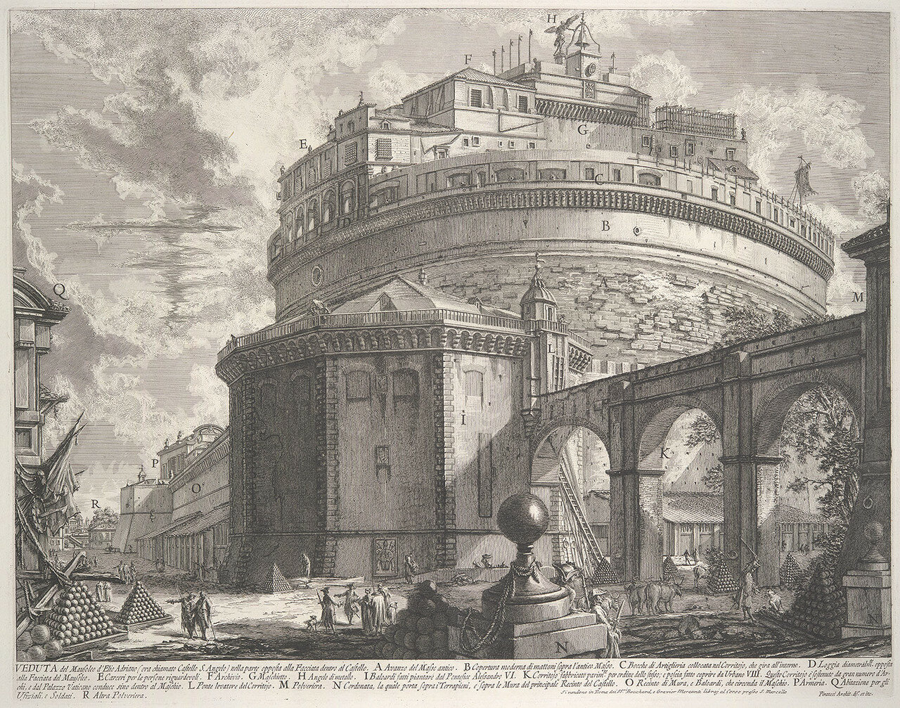 Working Title/Artist: Veduta del Mausoleo d'Elio Adraiano, ora chiamato Castello S. Angelo (View of the Mausoleum of Hadrian, now called the Castel S. Angelo): From Vedute di Roma (Views of Rome)Department: Drawings & PrintsCulture/Period/Location: HB