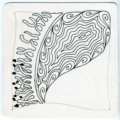 Создание плитки Зентангл - заполнение секций орнаментами, 4 этап