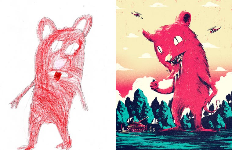 Monster Project - When artists recreate the drawings of young children