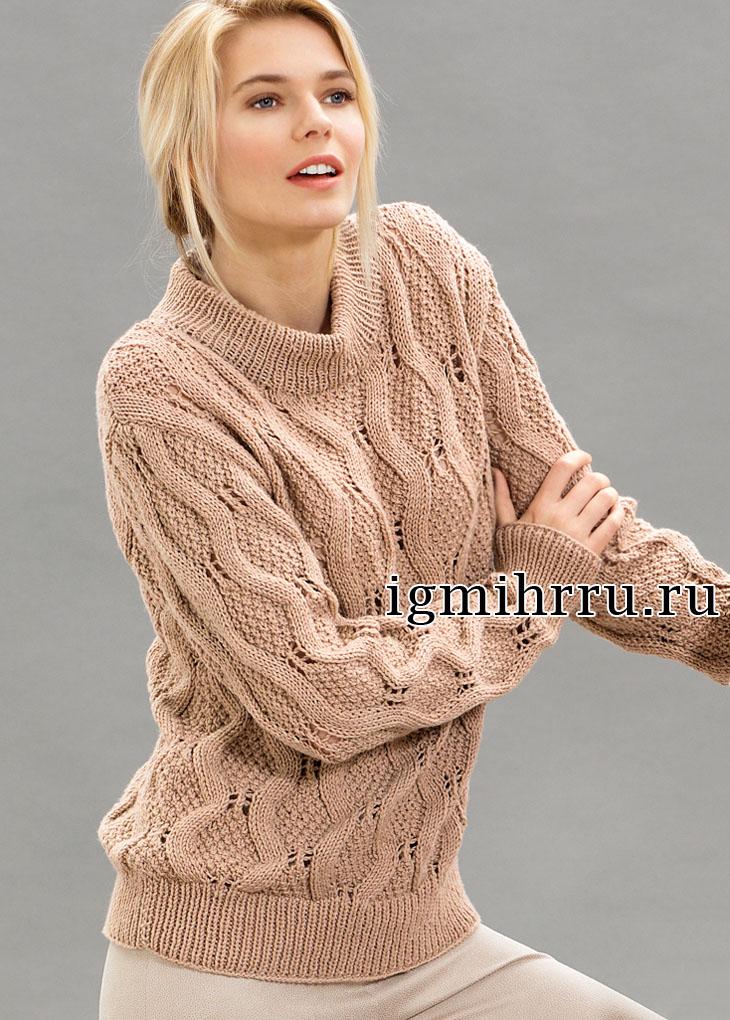 Классический пуловер со сплошным узором из ромбов. Вязание спицами