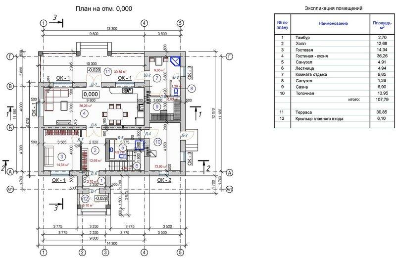 Проект частного дома, план первого этажа