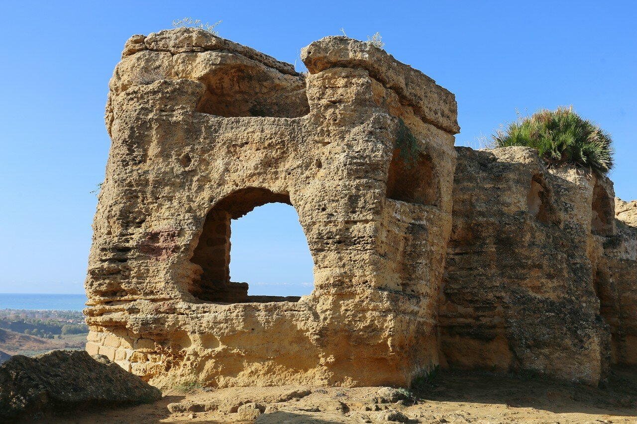 Agrigento, the Valley of the temples. Road of arches (Via degli arcosoli)
