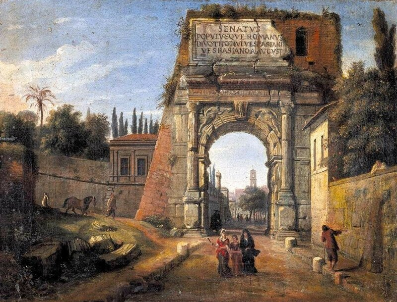 3 Casper van Wittel - View of the arch of Titus in Rome.jpg