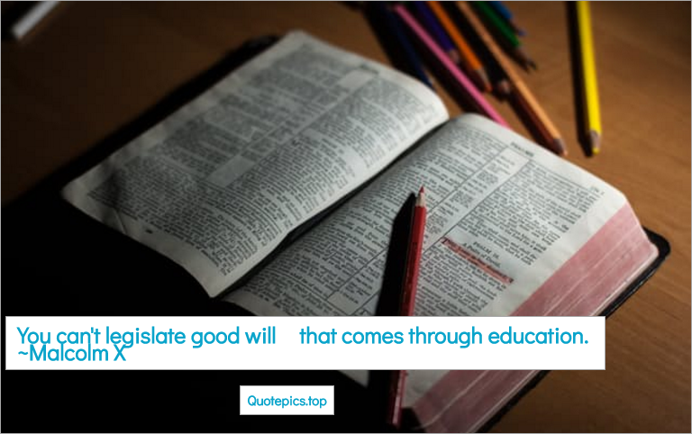 You can't legislate good will - that comes through education. ~Malcolm X