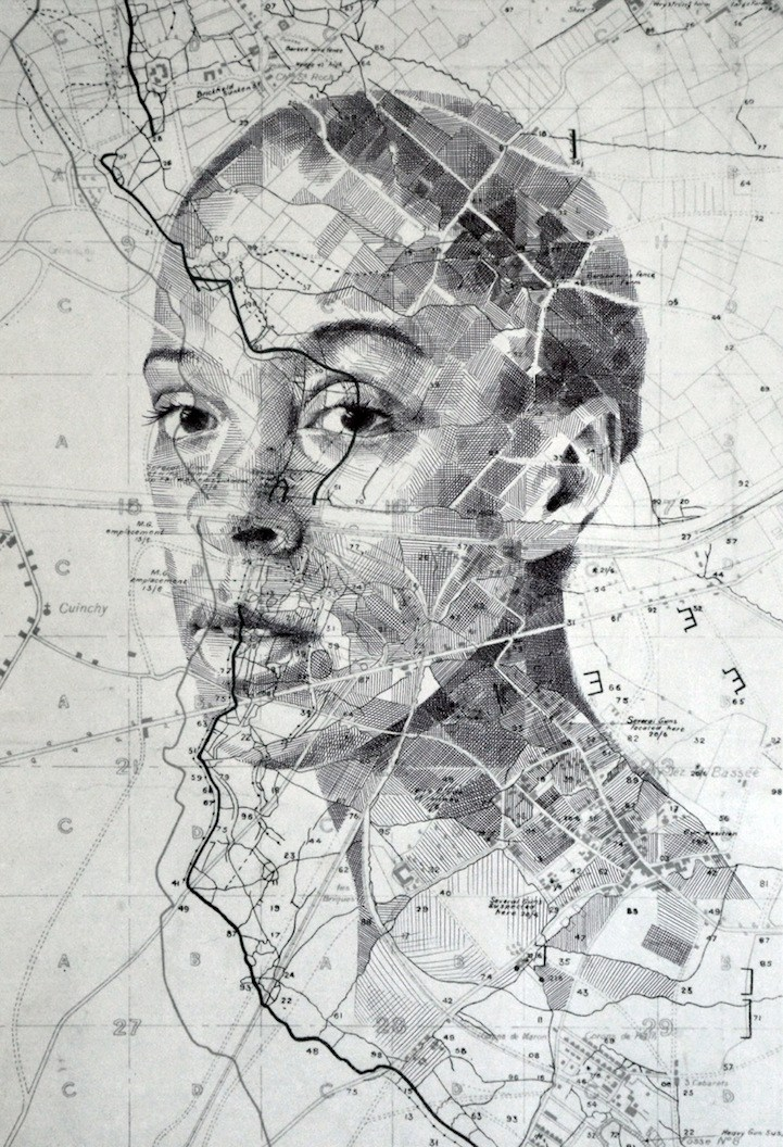 Unconventional portraits drawn on paper maps by Ed Fairburn