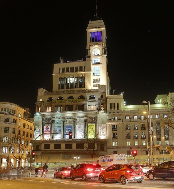 Ночной Мадрид. Здание общества изящных искуств (Edifico de Círculo de Bellas Artes)