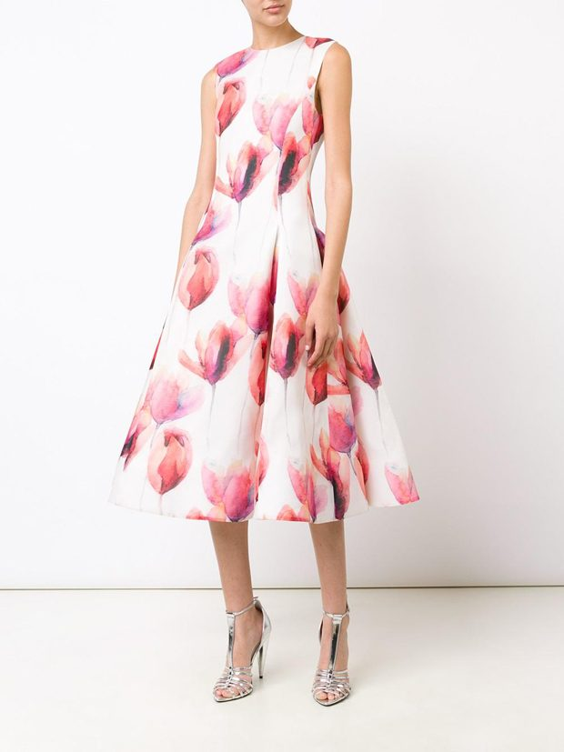 CHRISTIAN SIRIANO floral flared dress