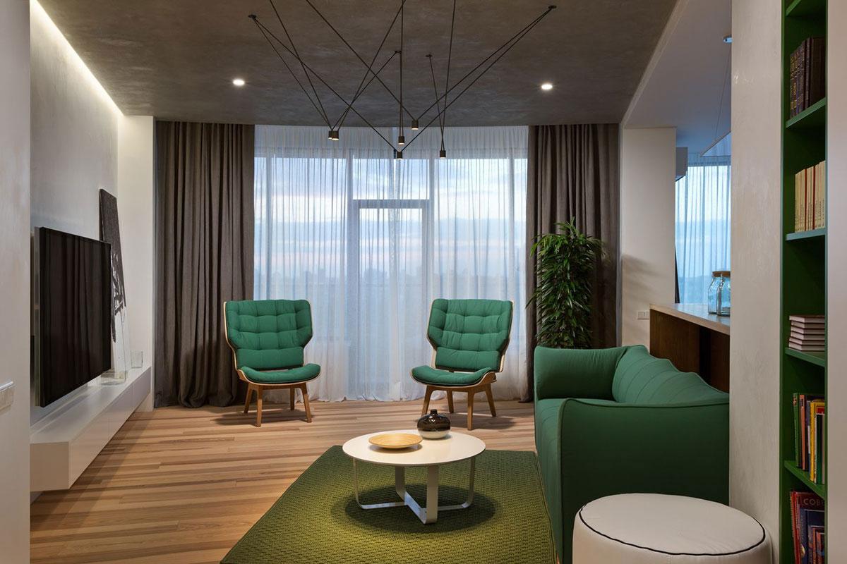 Зеленая мебель в интерьере квартиры