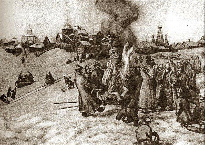 В.Васнецов - сжигание чучела Масленицы