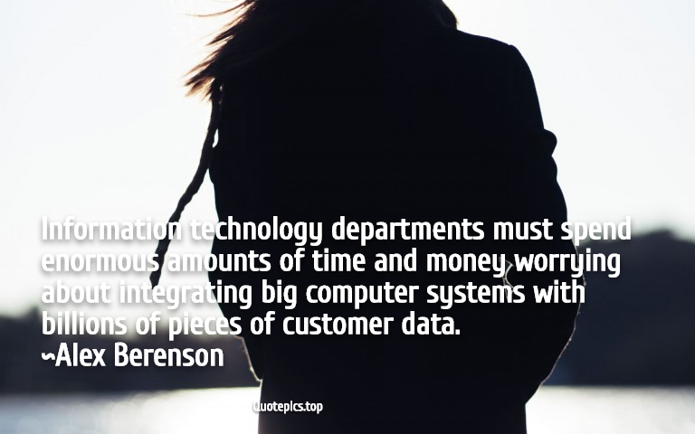 Information technology departments must spend enormous amounts of time and money worrying about integrating big computer systems with billions of pieces of customer data. ~Alex Berenson