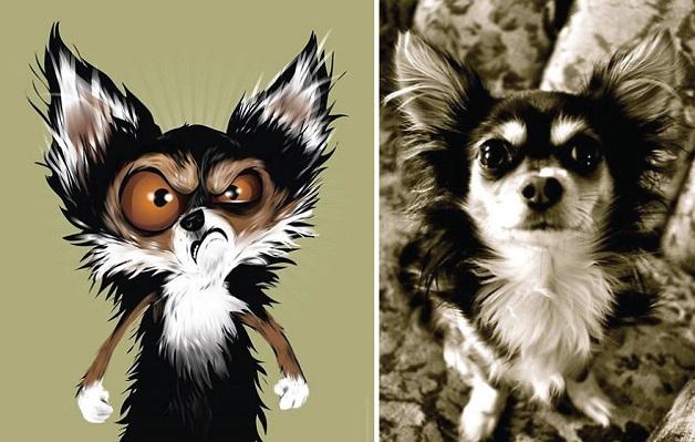 Artista faz caricaturas de animais de acordo com a descricao de seus donos