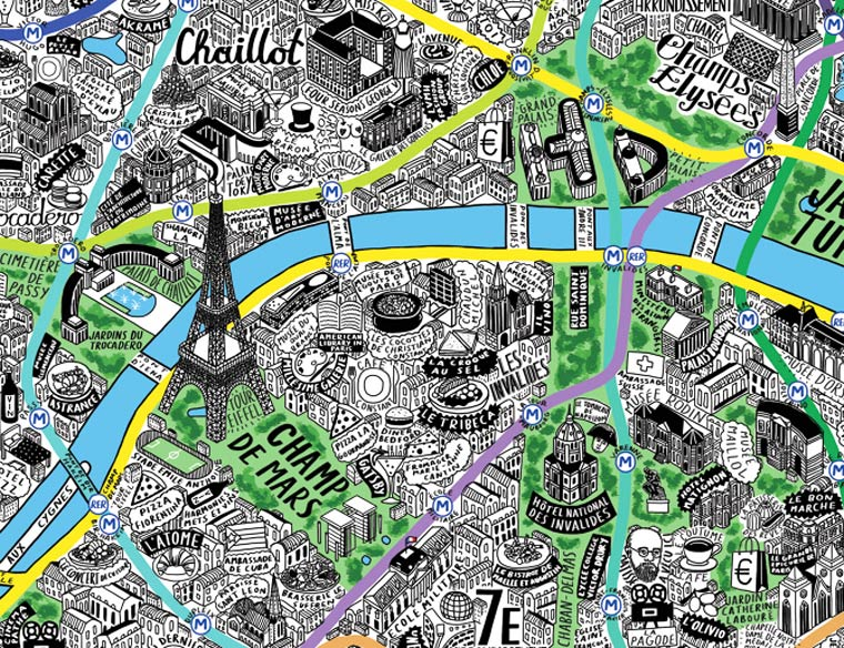 Une jolie carte de Paris dessinee a la main