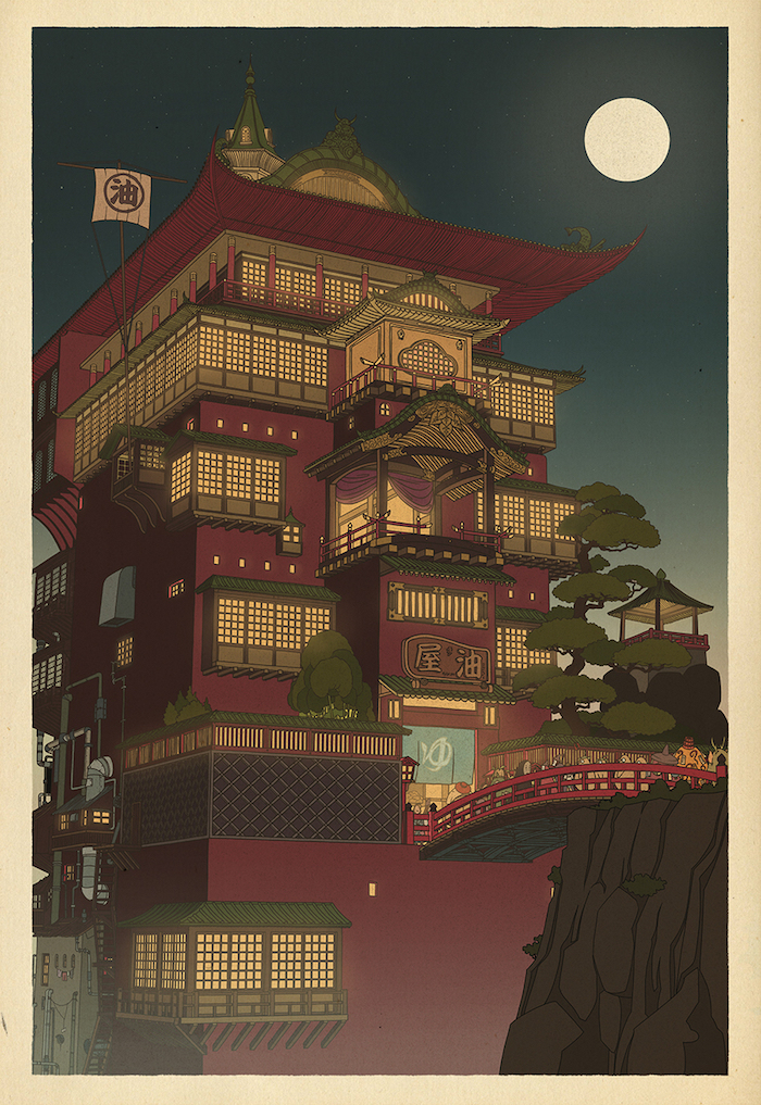 Beautiful Japanese Wood-Cut Style of Studio Ghibli Characters