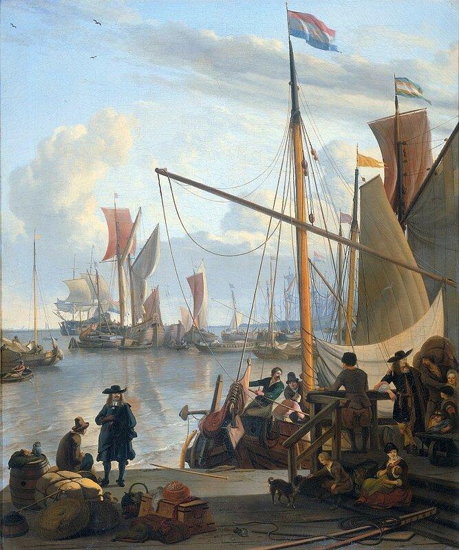 Людольф Бакхёйзен, Вид с пирса Муссел в Амстердаме, 1673