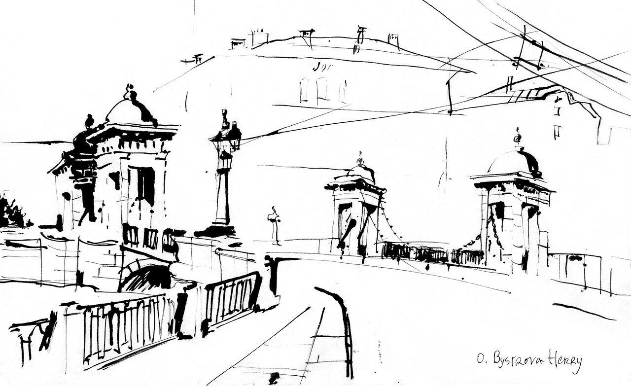 St. Petersbourg. Pont Lomonosov. Fontanka