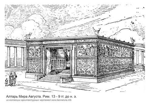 Алтарь Мира в Рим, общий вид, гравюра