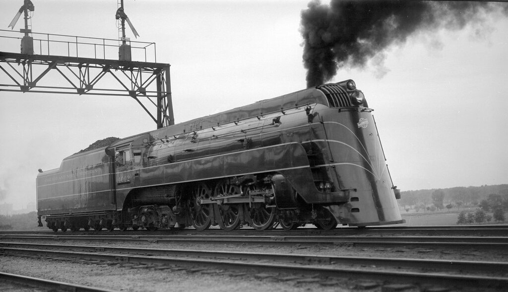 Chicago & North Western locomotive, engine number 4002, engine type 4-6-4. Council Bluffs, Iowa, May 29, 1938.