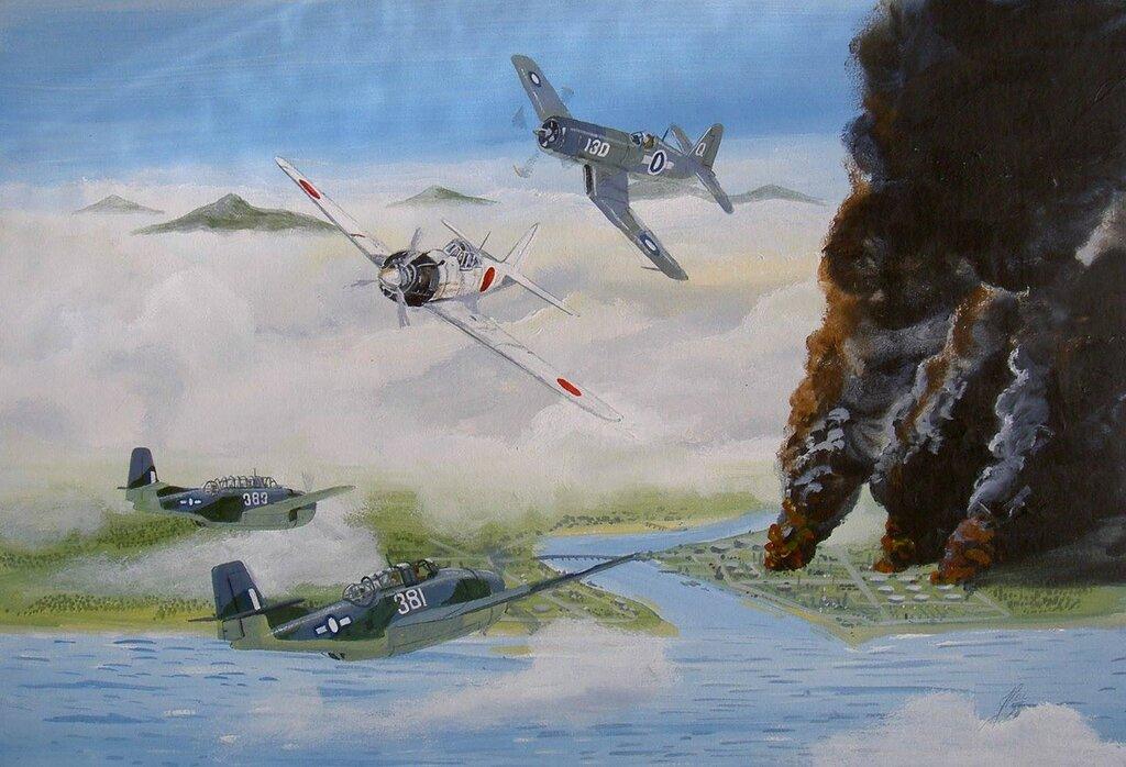 Fleet Air Arm raid on Oil Refinaries at Palembang WW2.