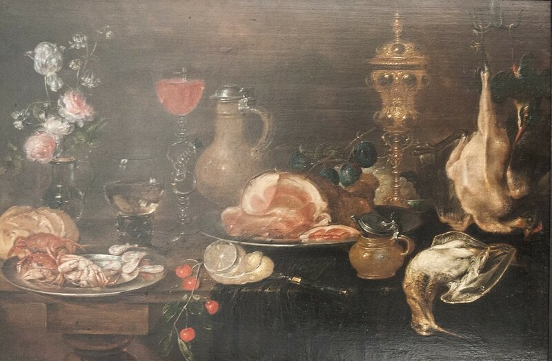 4 Alexander_Adriaessen_-_Still_Life_with_Flowers,_Ham,_Game,_Shellfish_and_Fruit.jpg