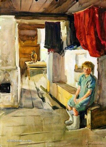 Гаврилкевич Евгений Григорьевич (1929–2004) «В избе» 1960.jpg
