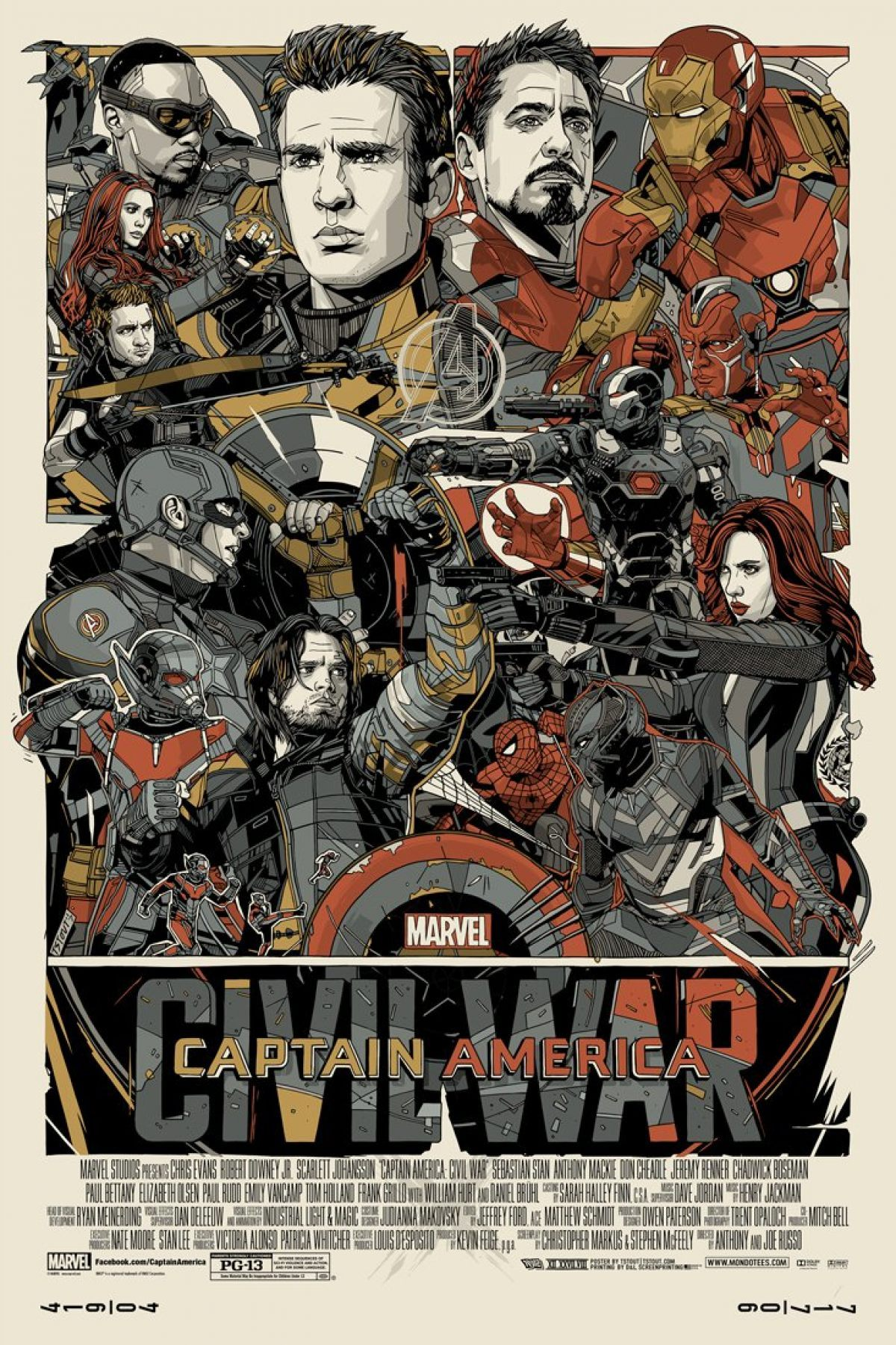 Tyler Stout is Back With an Amazing Captain America: Civil War Print for Mondo !