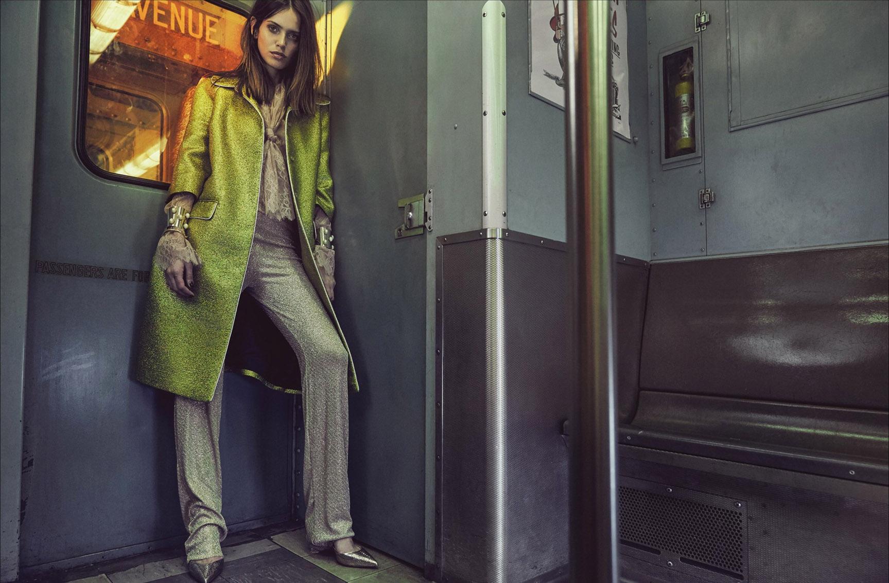 В нью-йоркском метро с Амандой Уэллш / Amanda Wellsh by An Le - Vogue Portugal january 2017
