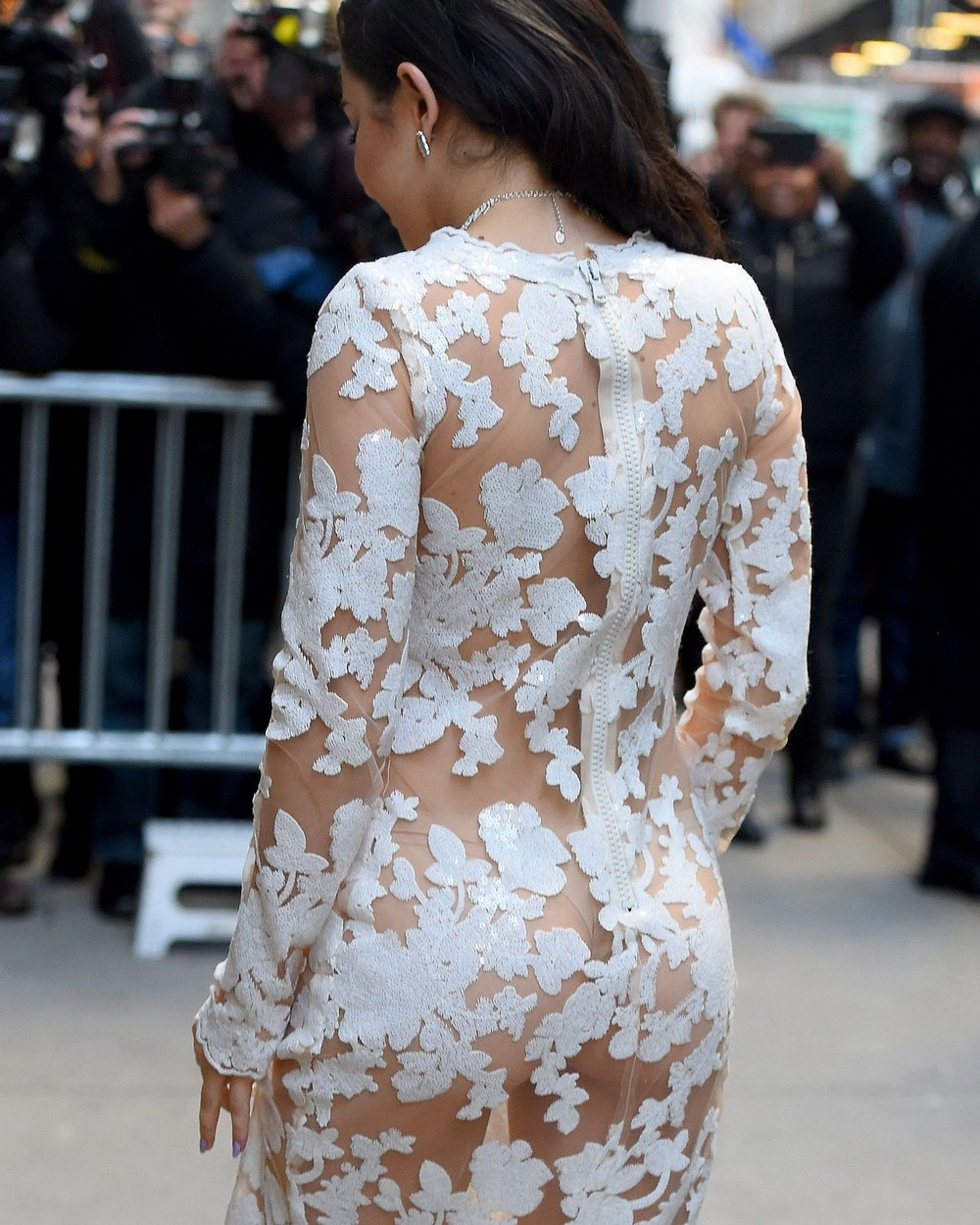 Charli XCX в просвечивающемся платье
