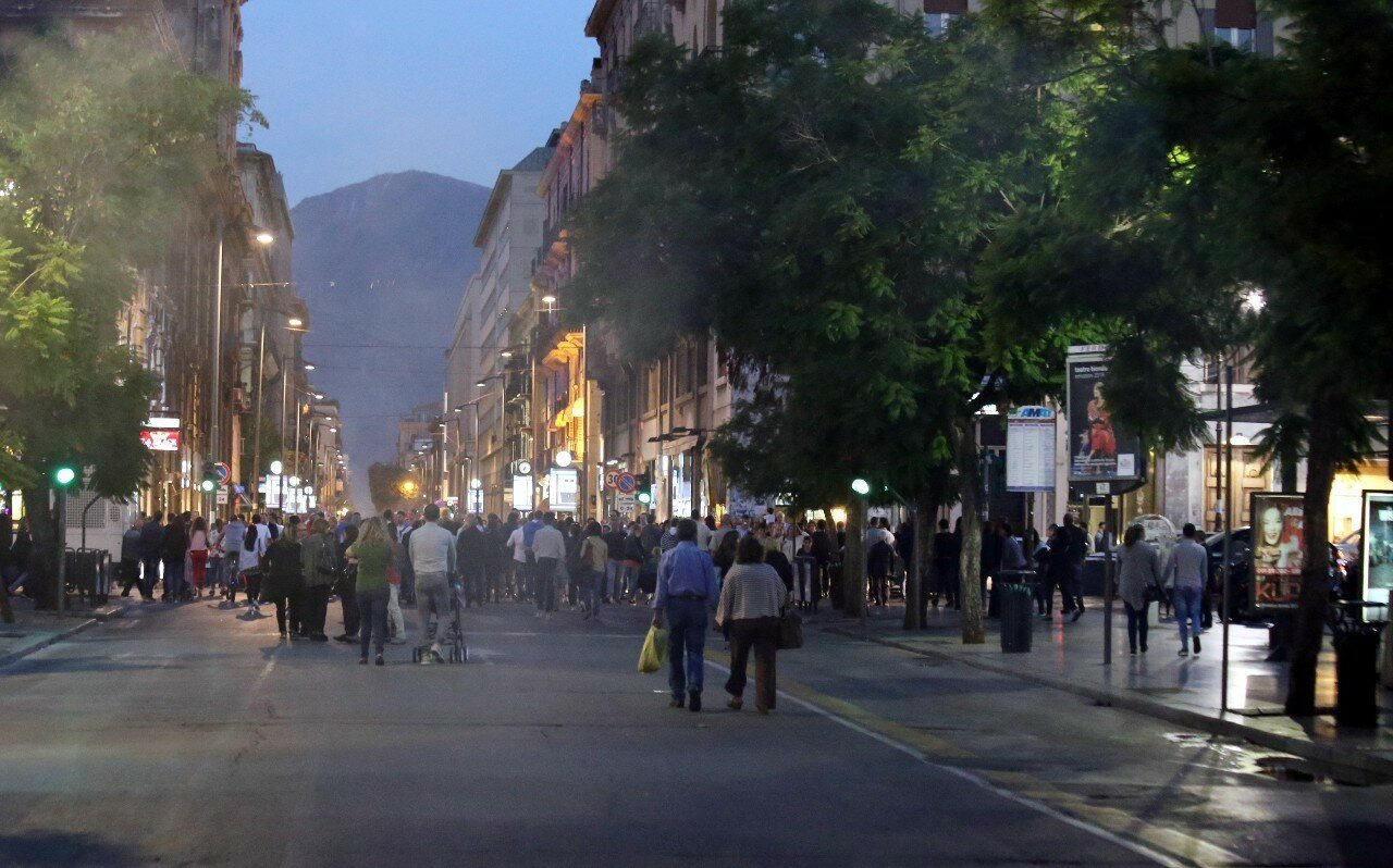 Palermo. Sunday evening on the via Maqueda