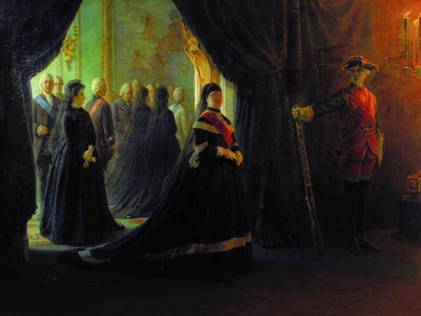 Николай Ге. Екатерина II у гроба императрицы Елизаветы. 1874 г