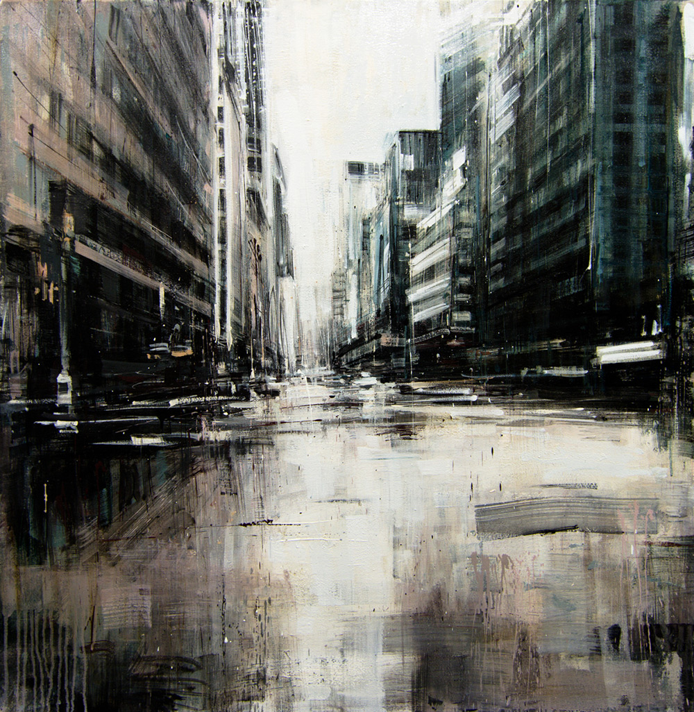 Rainy Day in NYC , 2015, oil on canvas, 36x36in.
