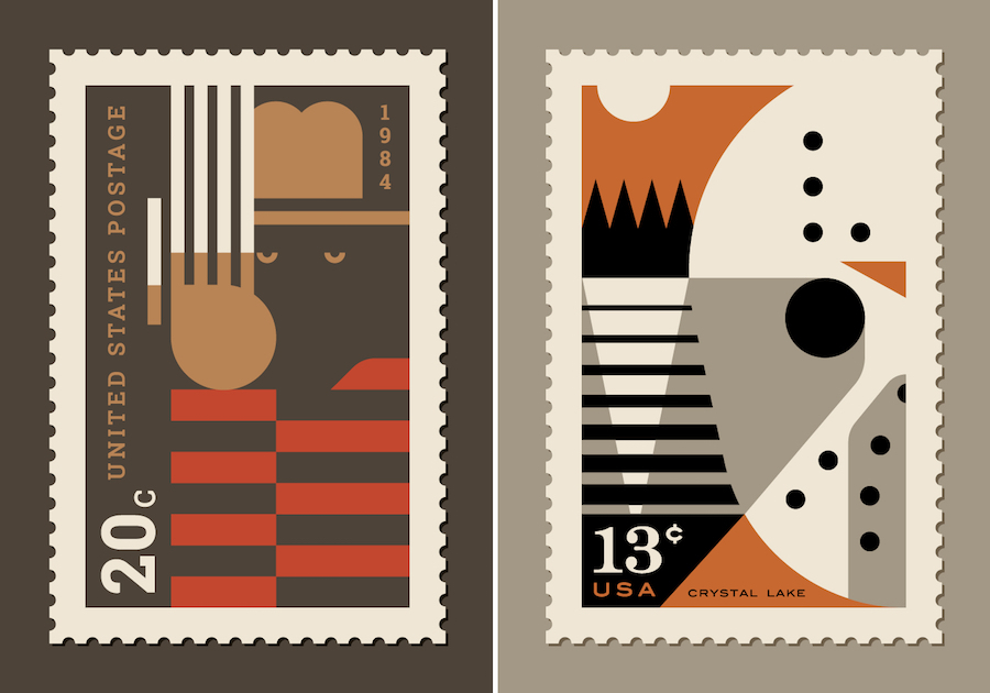 Stamps Created with 80's Pop Culture References