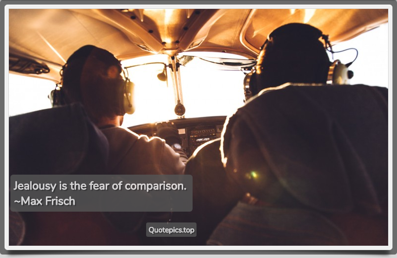 Jealousy is the fear of comparison. ~Max Frisch