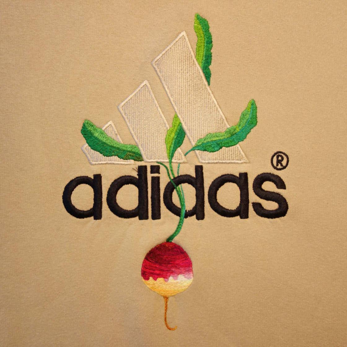 Broder des fleurs sur les logos des marques celebres