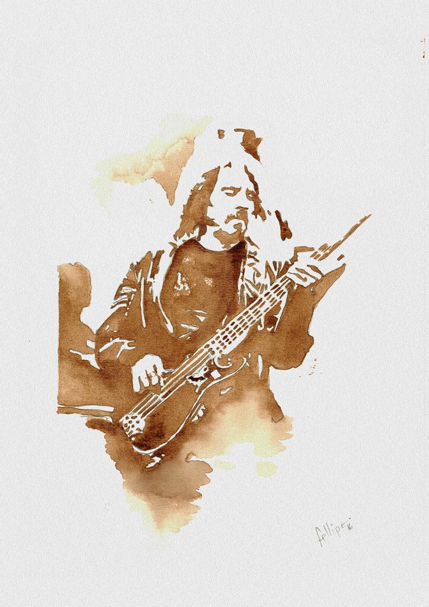 Conheca o artista que ilustra astros do rock com cafe