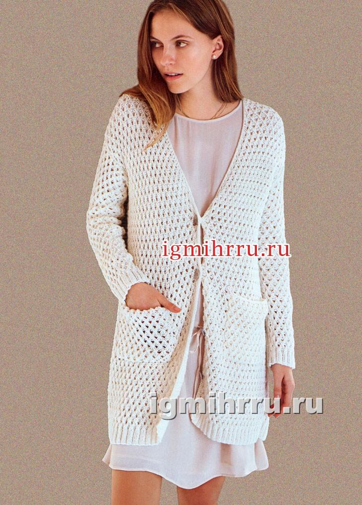 Удлиненный белый жакет с карманами. Вязание спицами