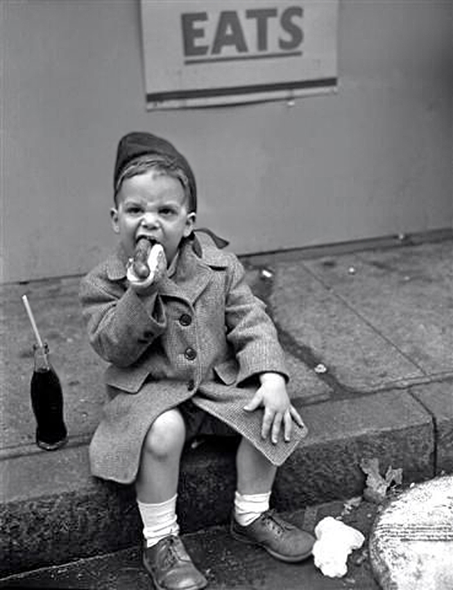 Boy Eating Hot Dog_ May 26, 1950