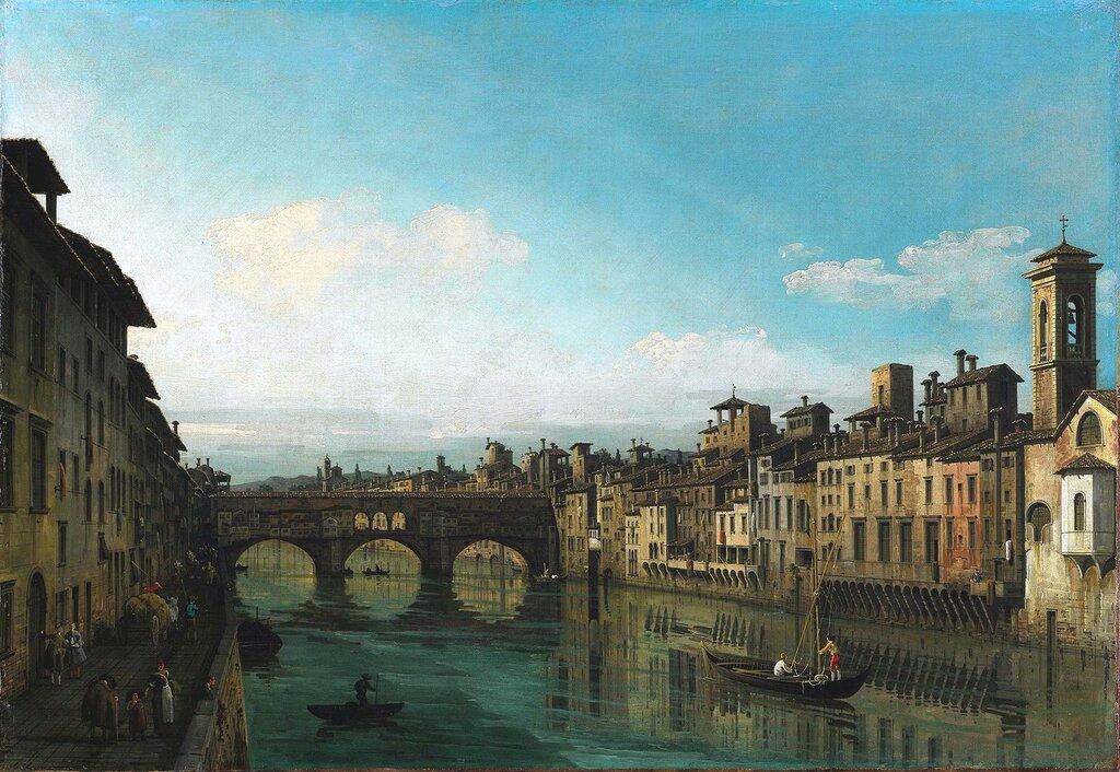 The Arno in Florence with the Ponte Vecchio, by Bernardo Bellotto