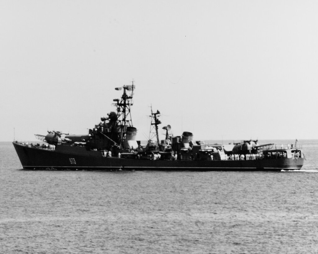 KRUPNY Class, Soviet Guided Missile Destroyer. in the Mediterranean Sea, April 1968.