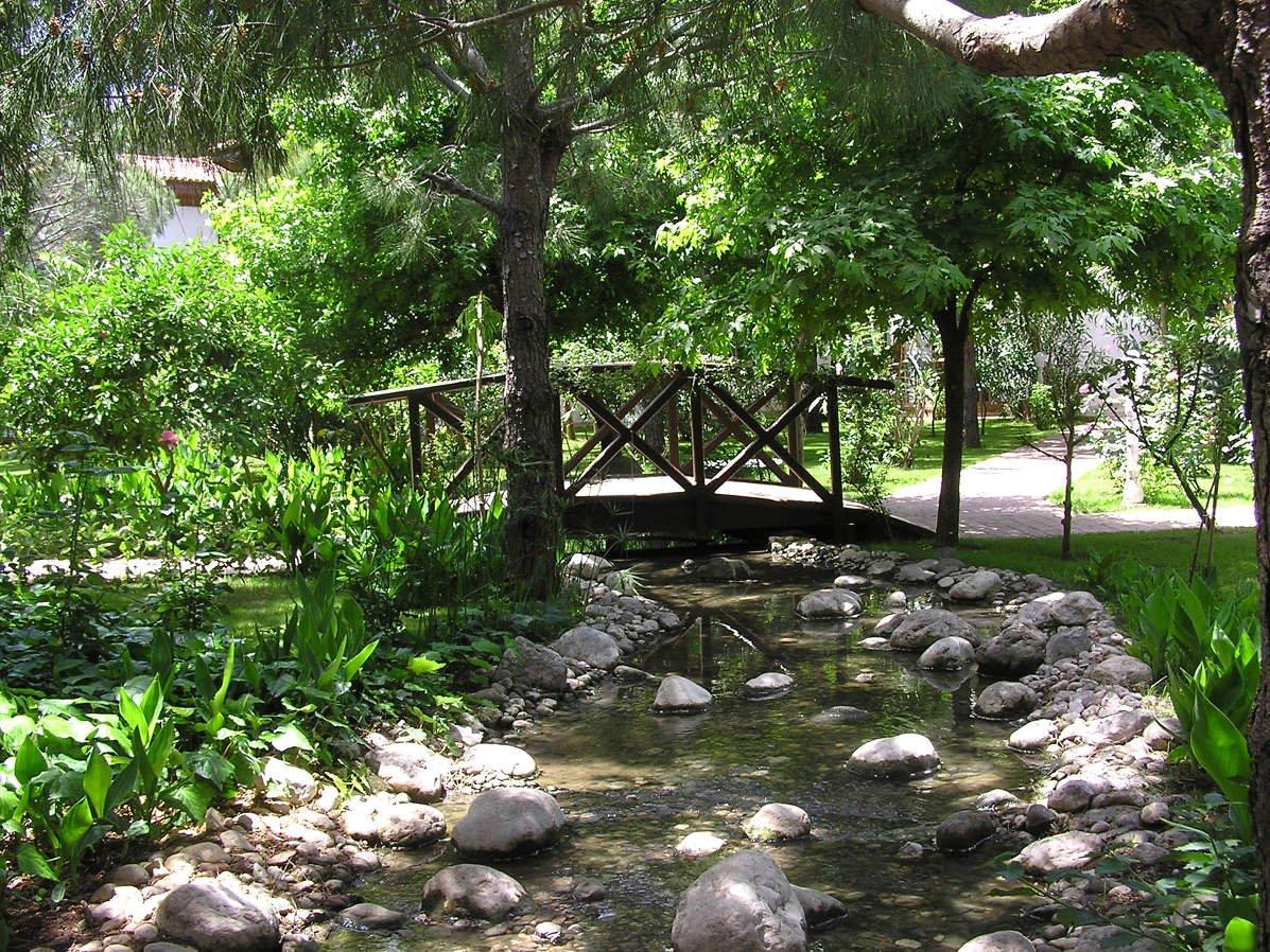 На территории поместья есть искусственный ручей, где плавает рыба. Искусственный ручей и пруд создал