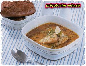 Суп из двух рыб с помидорами